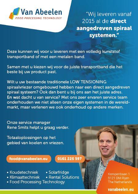 Direct aangedreven spiraal systemen: Van Abeelen Food Processing Technology